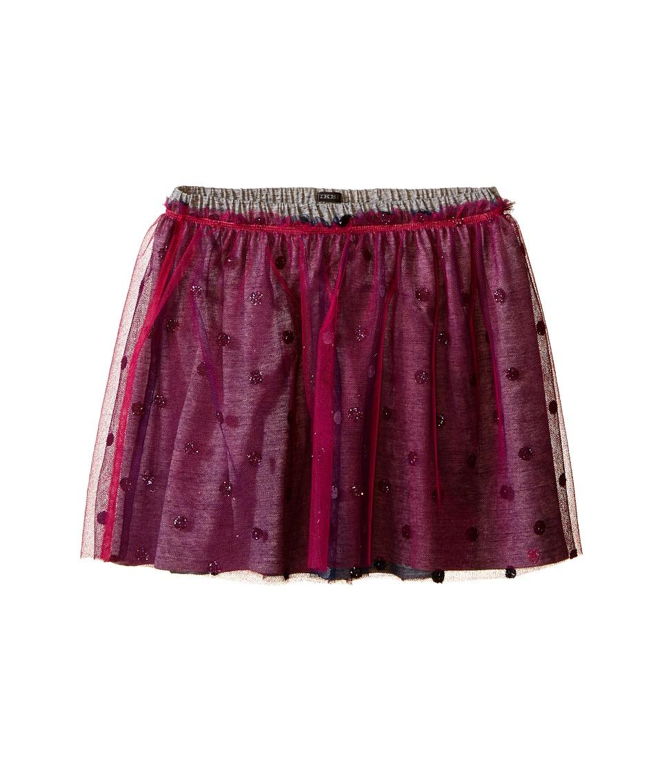 IKKS - Layered Tulle Skirt Over Jersey Fabric with Glitter Polka Dots Elastic Waistband (Little Kids/Big Kids) (Fuchsia) Girl's Skirt