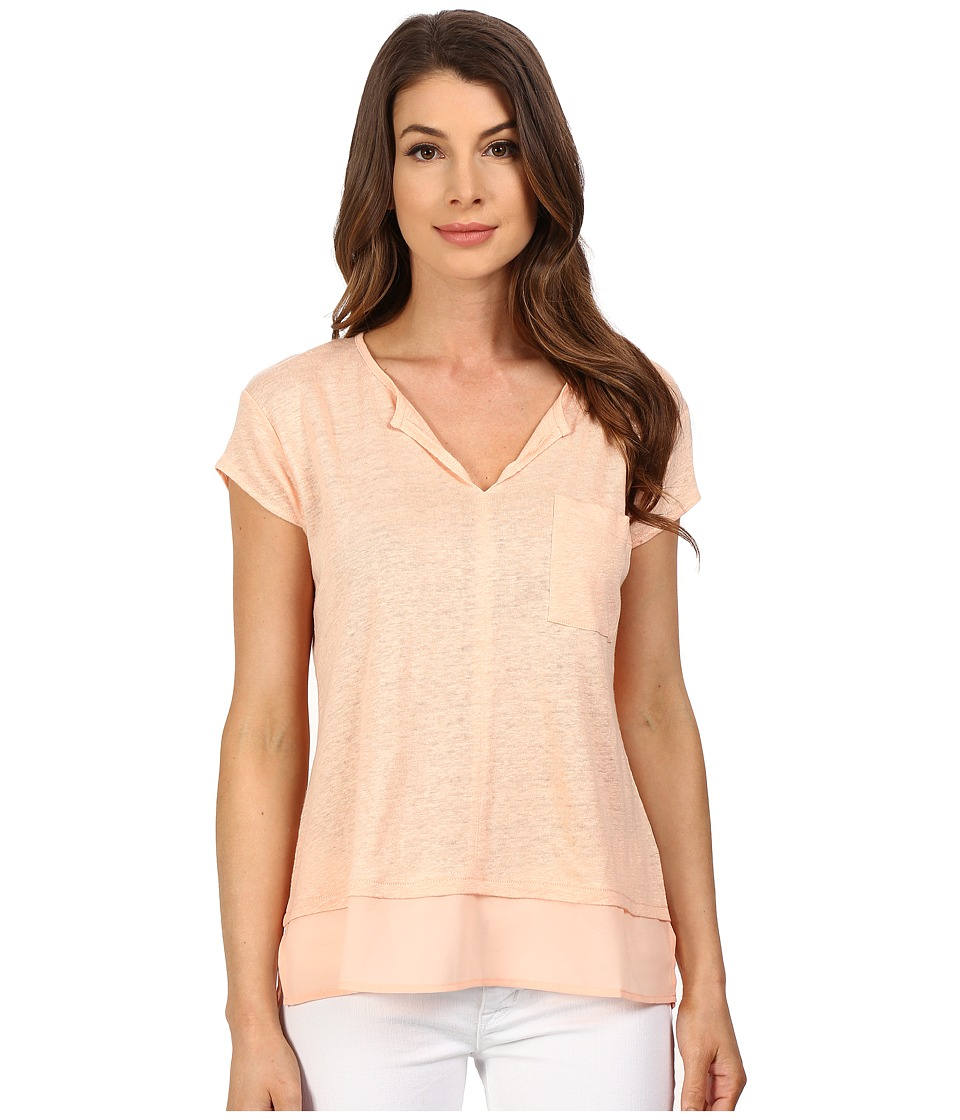 Sanctuary - City Mix Tee (Peachy) Women's Short Sleeve Pullover