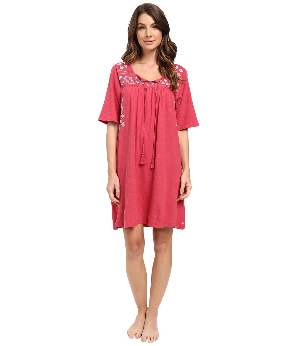 Lucky Brand - Embroidered Sleep Dress (Crimson Rose) Women's Pajama