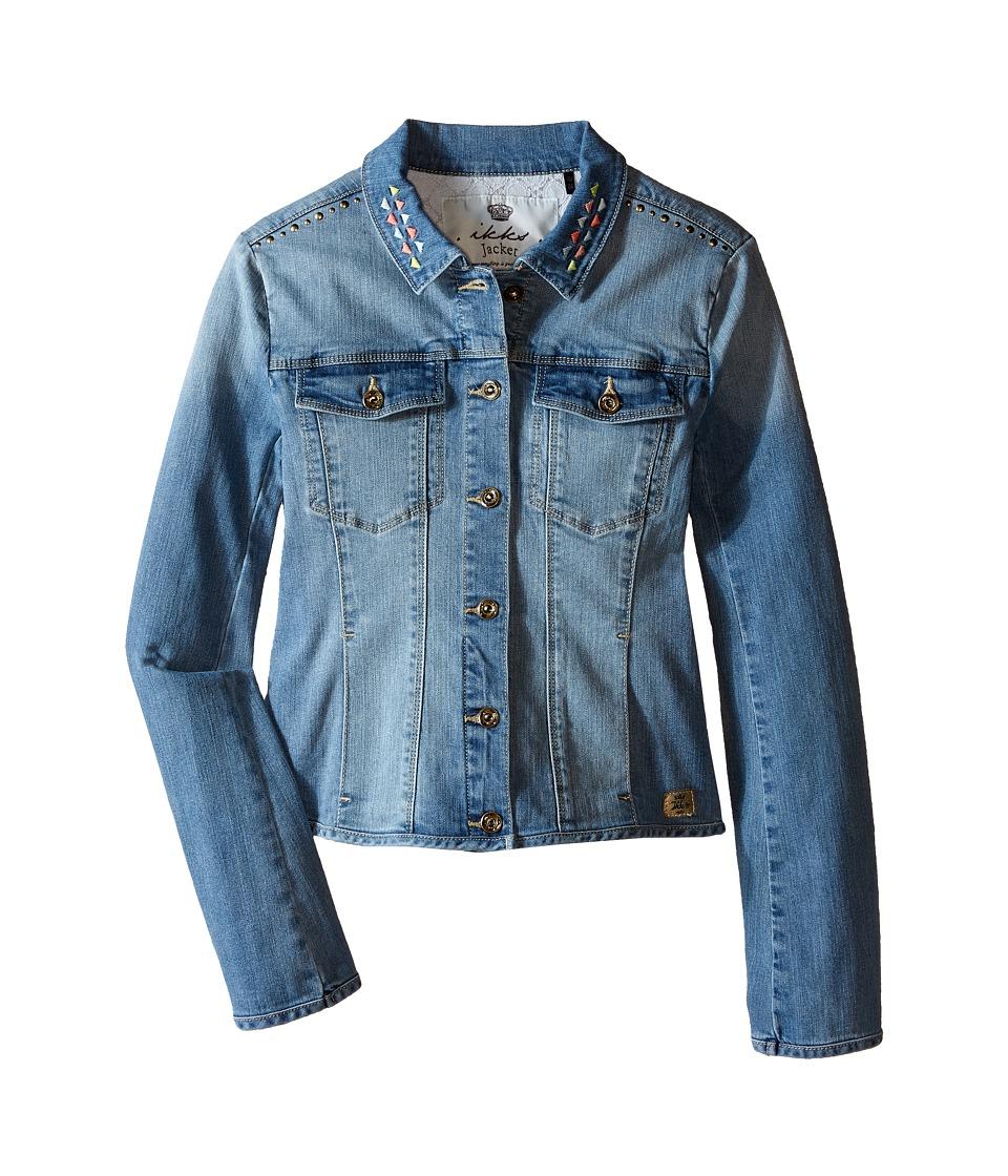 IKKS - Denim Jacket with Large Stones Embroidered Detail (Little Kids/Big Kids) (Blue) Girl's Jacket