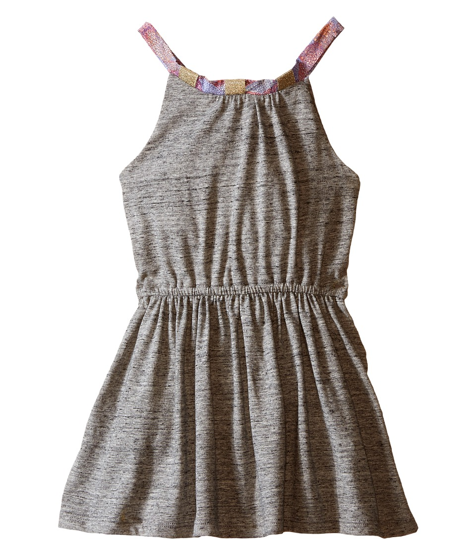 IKKS - Jersey Dress with Pink Chiffon Straps Elastic Waistband (Toddler/Little Kids/Big Kids) (Dark Grey) Girl's Dress