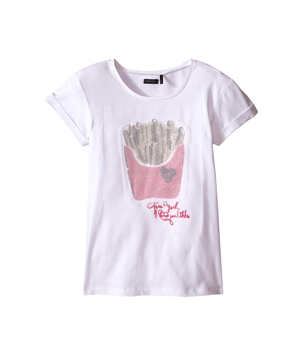 IKKS - Tee with Sequined French Fries on Front (Little Kids/Big Kids) (Bright White) Girl's Short Sleeve Pullover