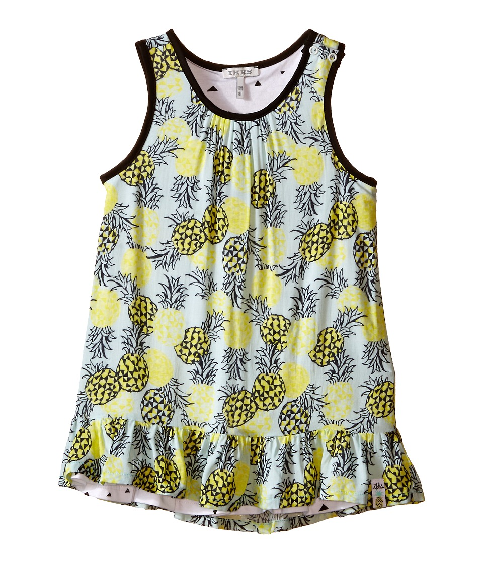 IKKS - Reversible Dress in Abstract Pineapple Print Reversing to Jersey Triangle Print (Infant/Toddler) (Aqua) Girl's Dress