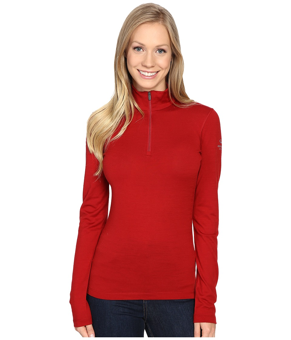 Icebreaker - Oasis Long Sleeve Half Zip (Oxblood) Women's Clothing