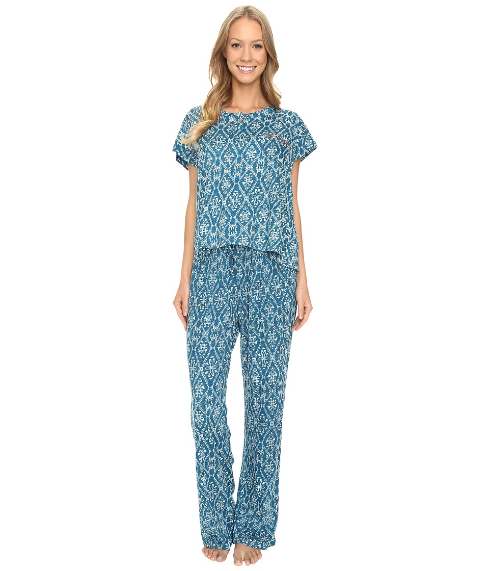 Lucky Brand - Tee Jay Pajama (Teal Print) Women's Pajama Sets