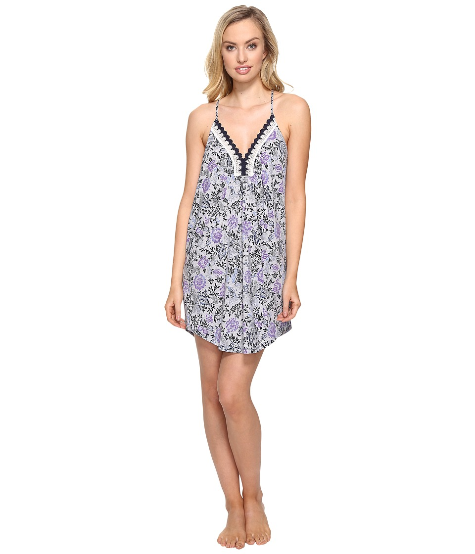 Lucky Brand - Crochet Lace Chemise (Grey Heather Border) Women's Pajama