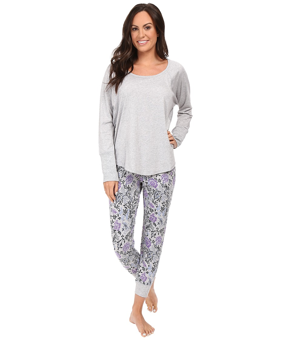 Lucky Brand - Dolman Pajama (Grey Heather Floral) Women's Pajama Sets
