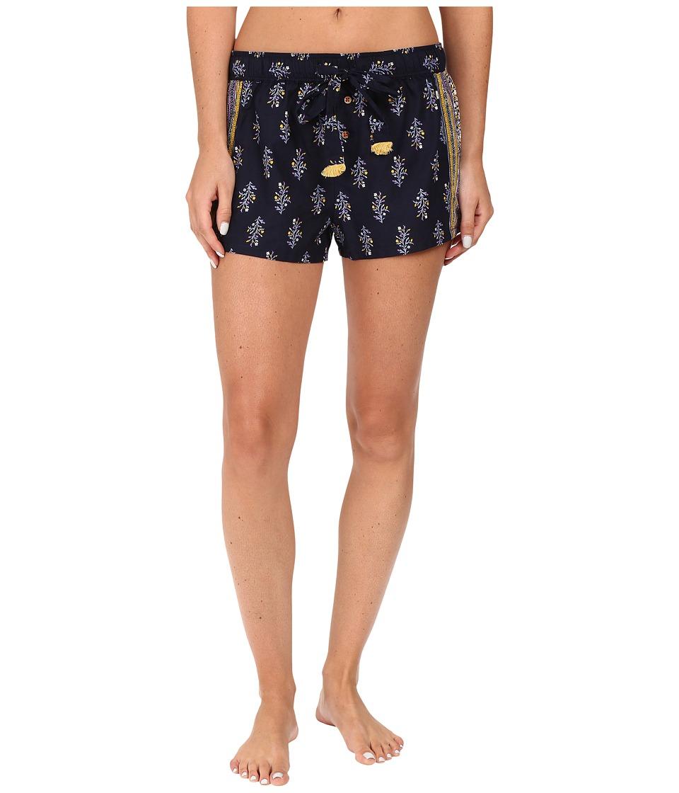 Lucky Brand - Woven Boxer (Navy Floral Border) Women's Pajama