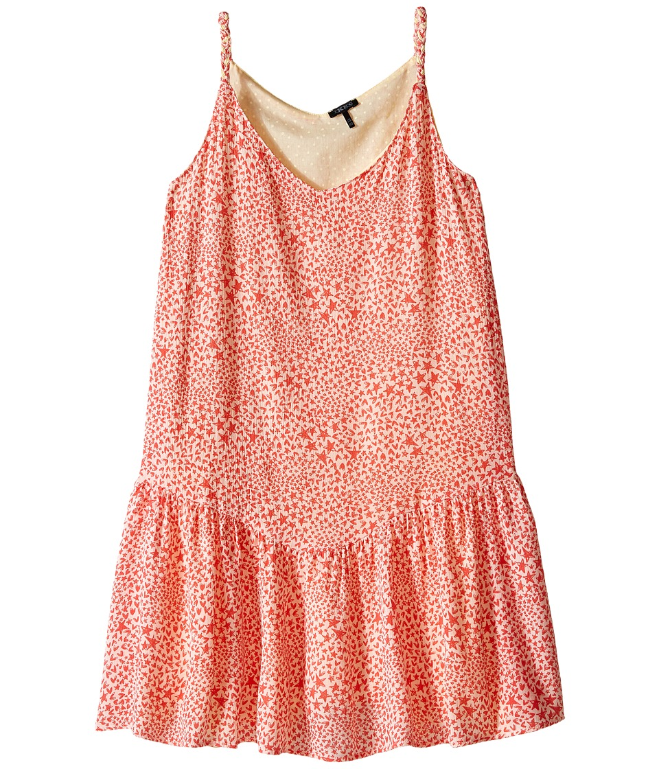 IKKS - Reversible Dress with Braided Straps Drop Waist All Over Print Reverses to Yellow Swiss Dot (Little Kids/Big Kids) (Coral) Girl's Dress