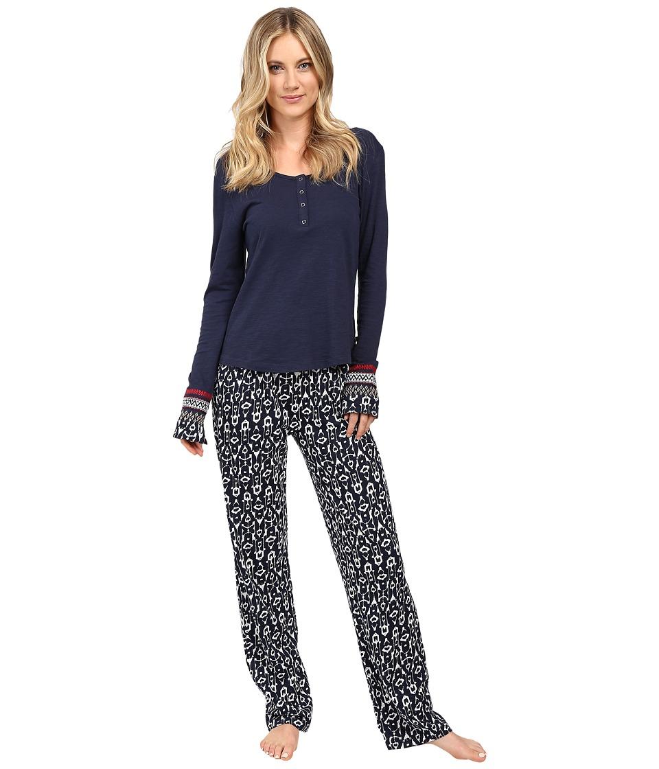 Lucky Brand - Henley Pajama (Navy Ikat) Women's Pajama Sets