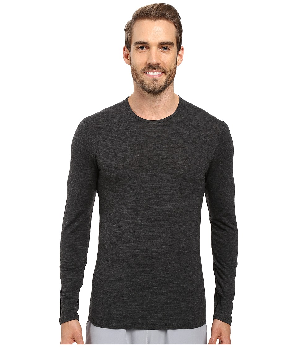 Icebreaker - Anatomica Long Sleeve Crewe (Jet Heather/Black/Jet Heather) Men's T Shirt