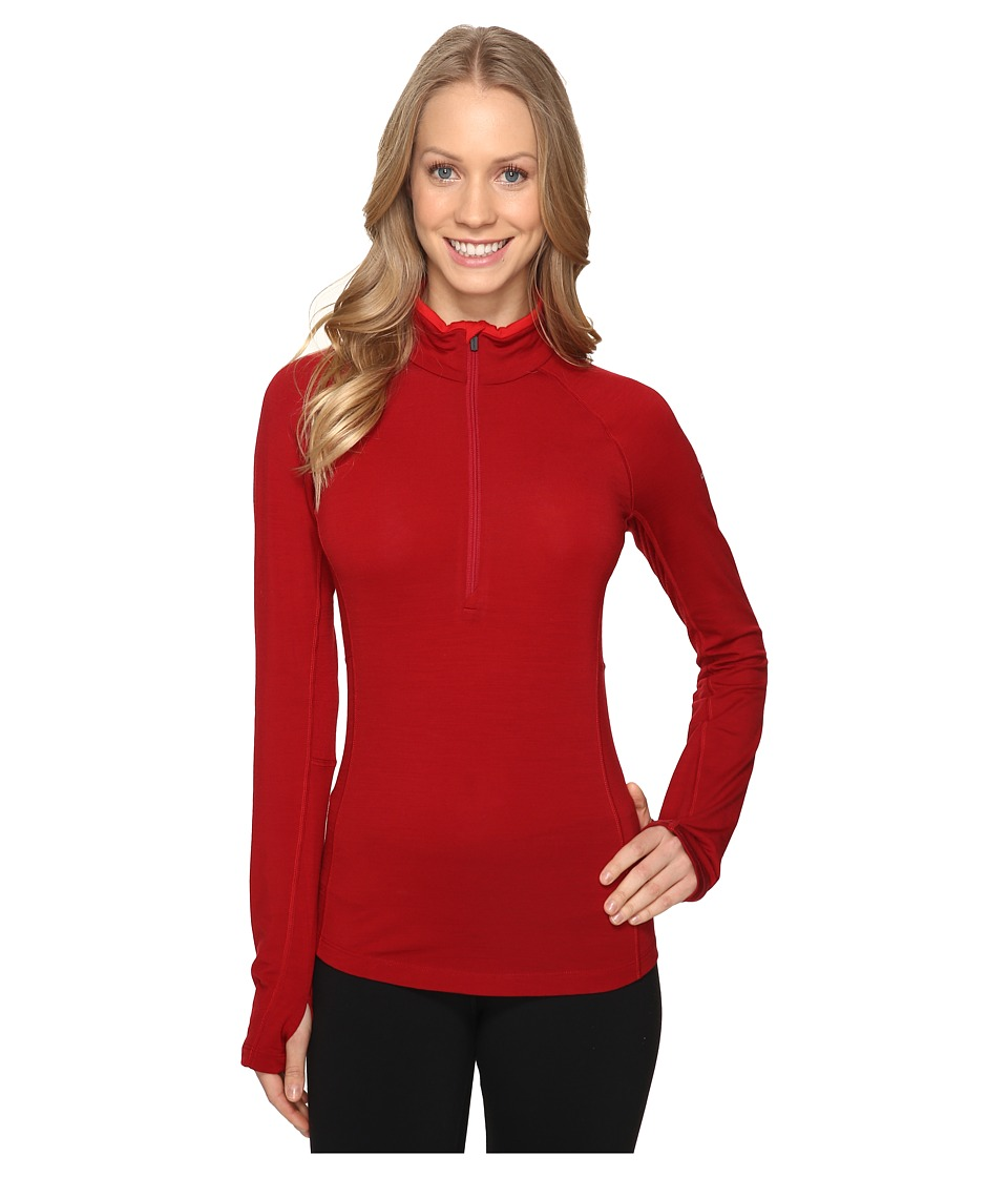 Icebreaker - Zone Long Sleeve Half Zip (Oxblood/Rocket) Women's Workout