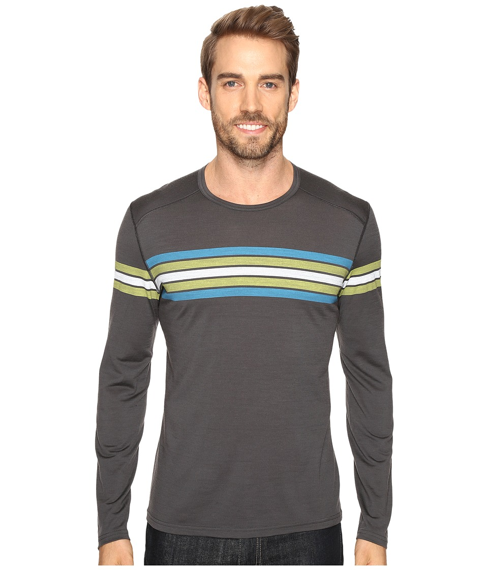 Icebreaker - Oasis Long Sleeve Crewe Coronet Stripe (Monsoon/Cactus) Men's Clothing