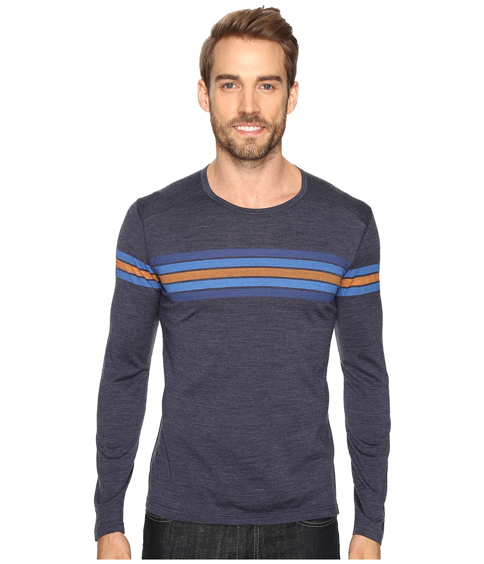 Icebreaker - Oasis Long Sleeve Crewe Coronet Stripe (Fathom Heather/Pelorus) Men's Clothing