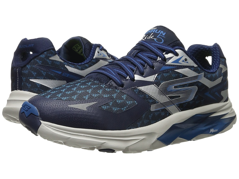 SKECHERS - Go Run Ride 5 (Navy/Gray) Men's Running Shoes