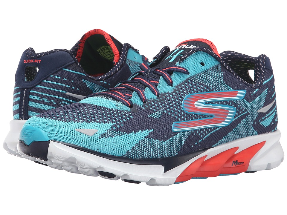 SKECHERS - Go Run 4 - 2016 (Navy/Aqua) Women's Running Shoes