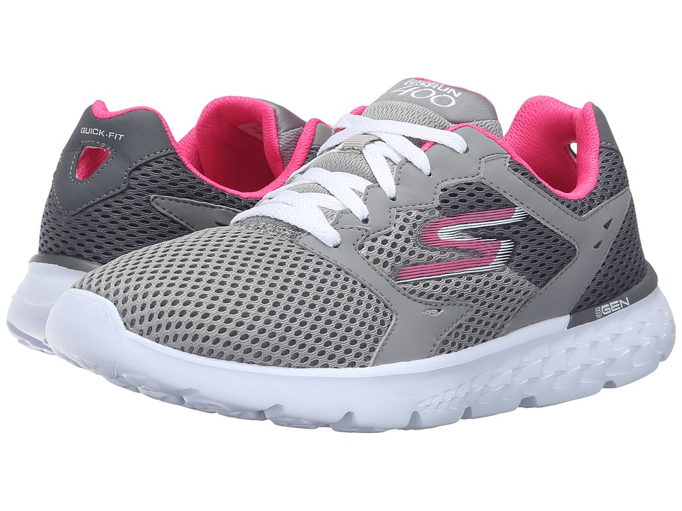 SKECHERS - Go Run 400 (Charcoal/Pink) Women's Running Shoes