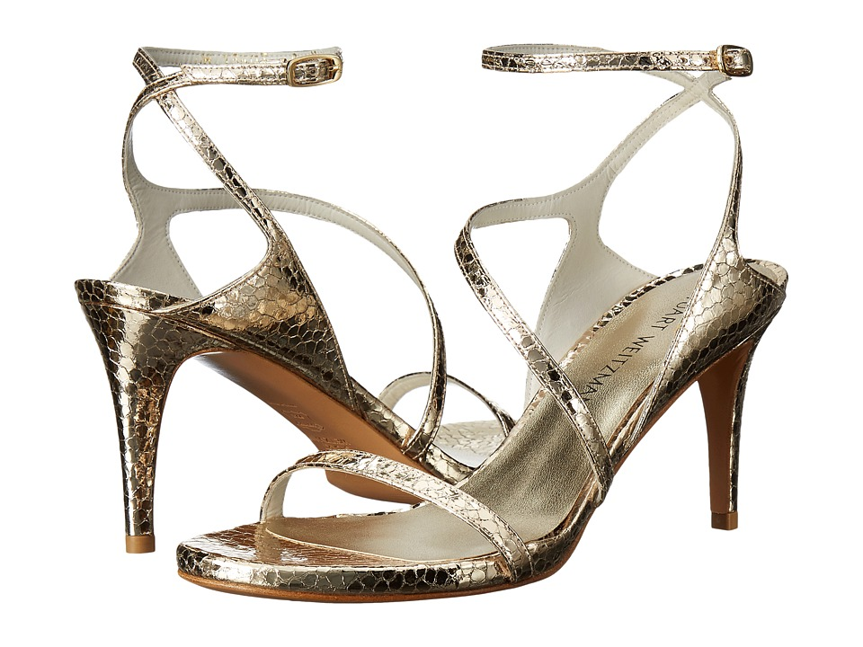 Stuart Weitzman Bridal & Evening Collection Sultrymid (Bright Gold Shatter Napa) High Heels