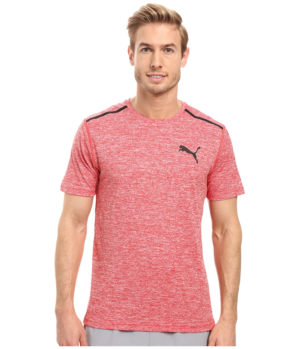 PUMA - Bonded Tech Short Sleeve Tee (Puma Red Heather/Puma Black) Men's T Shirt
