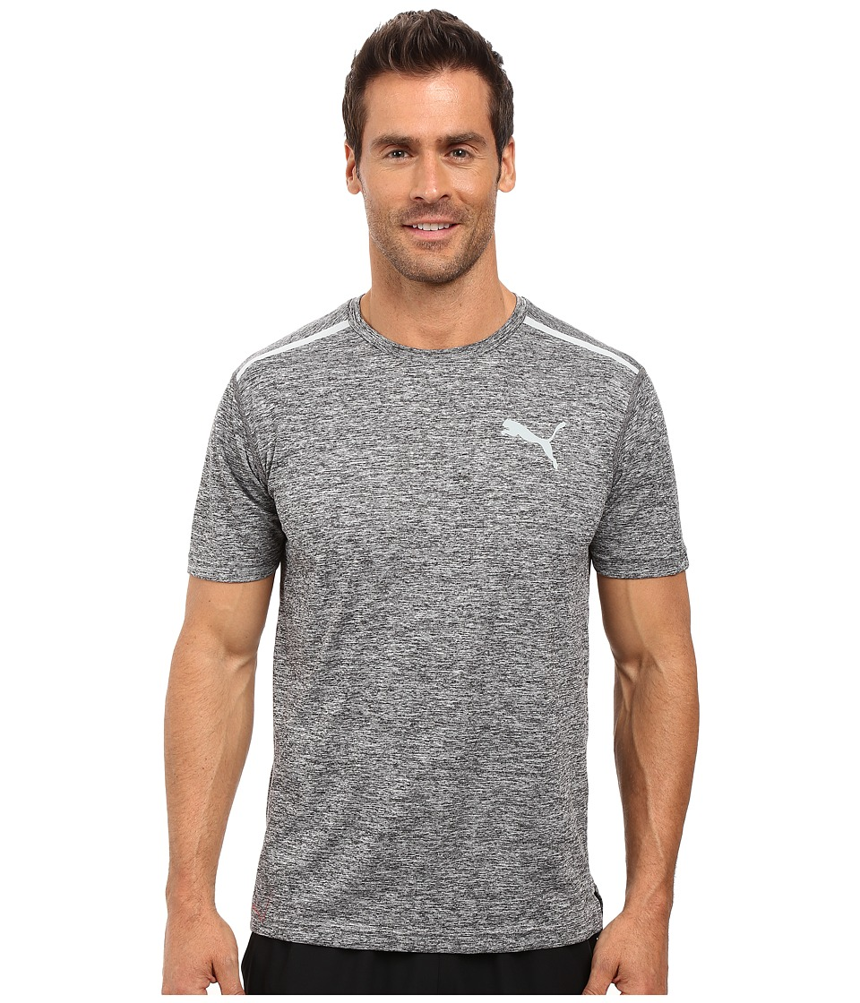PUMA Bonded Tech Short Sleeve Tee (Puma Black Heather/Quarry) Men