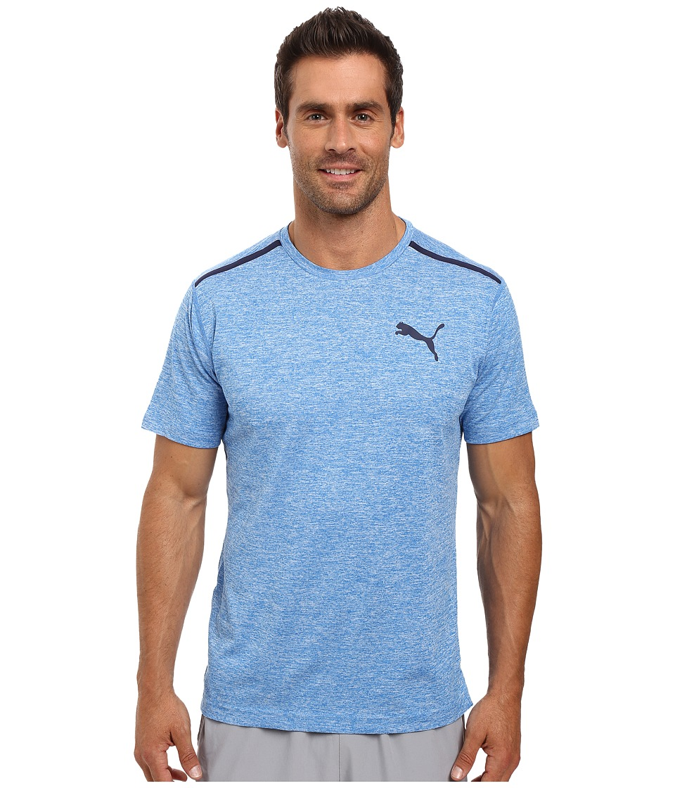 PUMA - Bonded Tech Short Sleeve Tee (Electric Blue Lemonade Heather/Peacoat) Men's T Shirt
