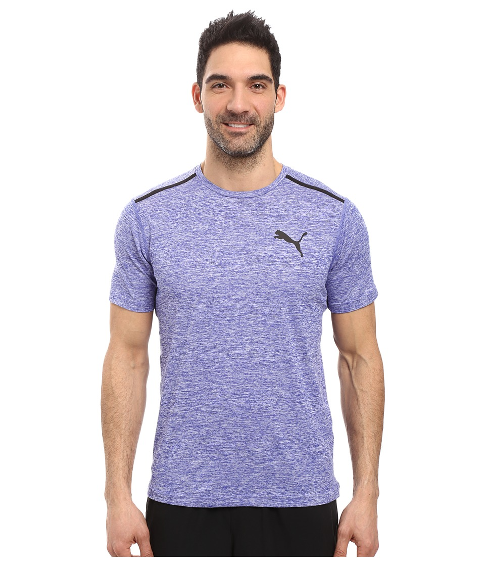 PUMA - Bonded Tech Short Sleeve Tee (Royal Blue Heather/Puma Black) Men's T Shirt