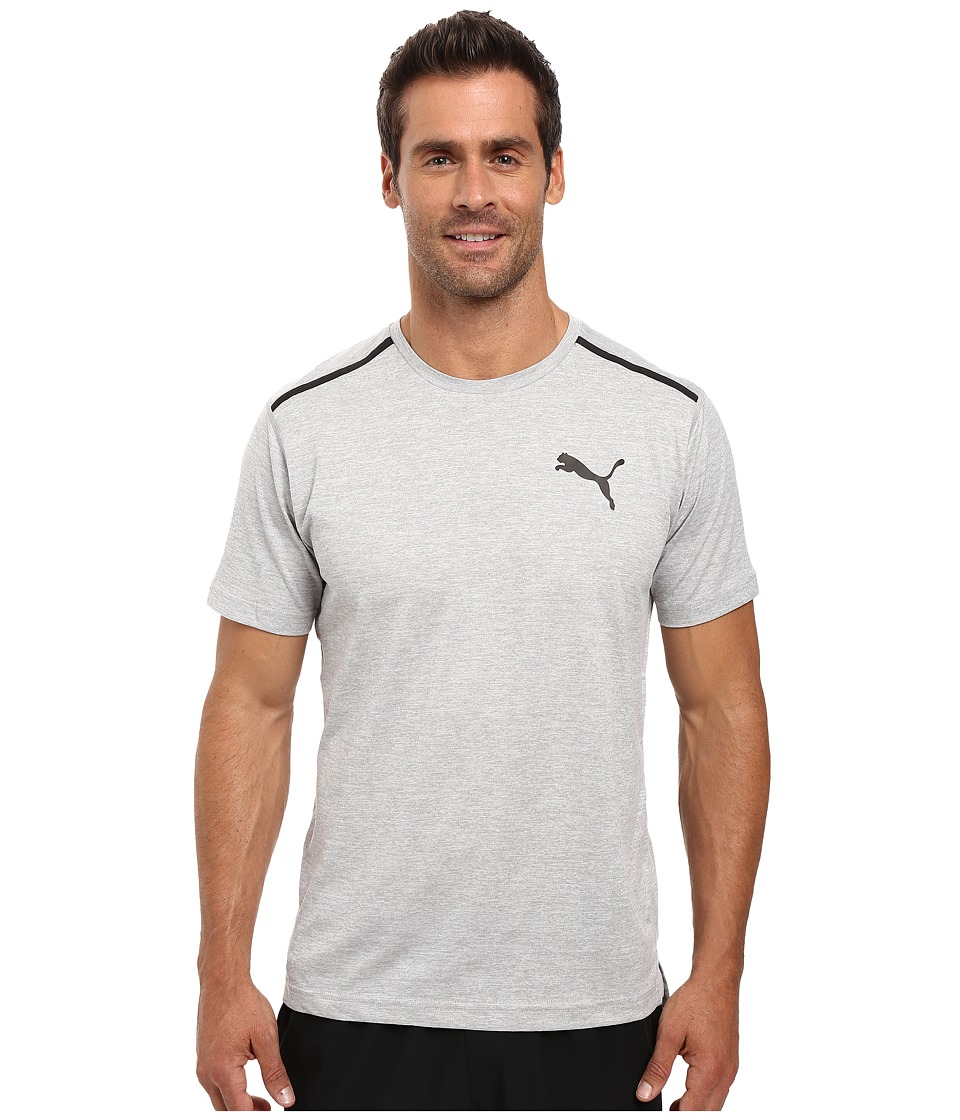 PUMA Bonded Tech Short Sleeve Tee (Light Gray Heather/Puma Black) Men