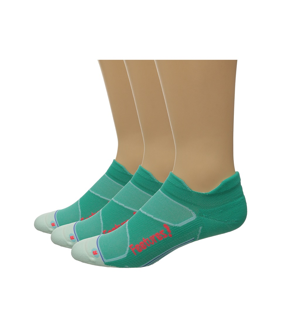 Feetures - Elite Light Cushion No Show Tab 3-Pair Pack (Atlantis/Lava) No Show Socks Shoes