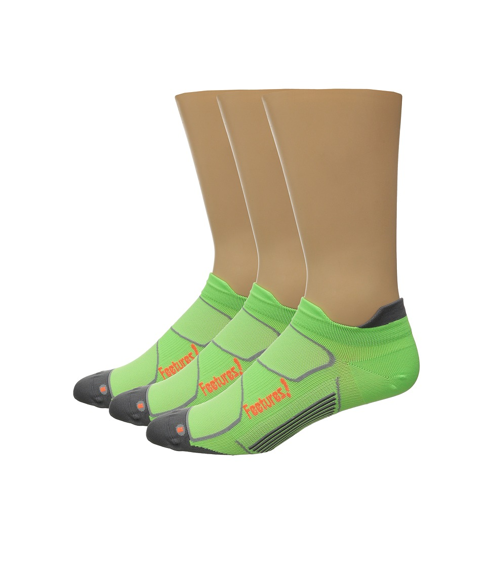 Feetures - Elite Ultra Light No Show Tab 3-Pair Pack (Citron/Electric Orange) No Show Socks Shoes