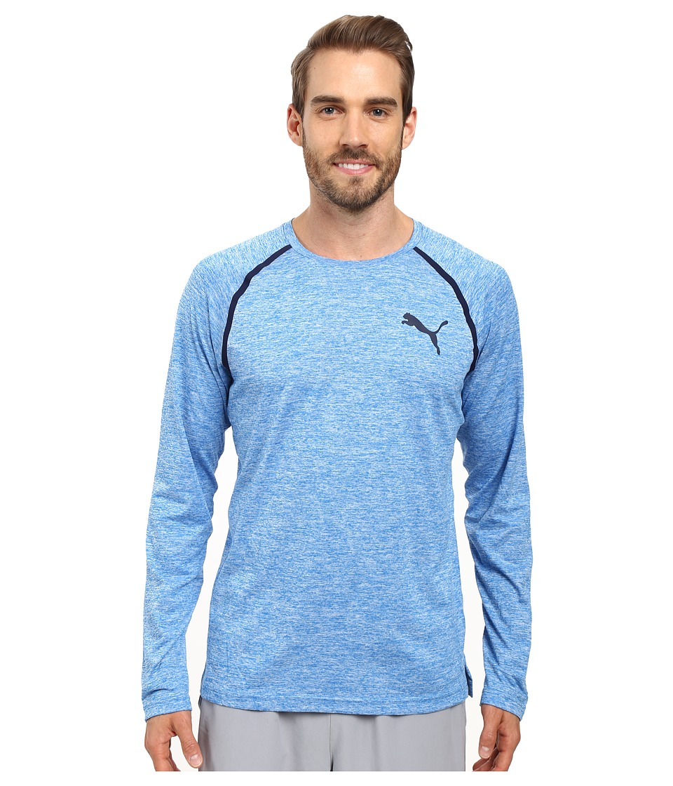 PUMA - Bonded Tech Long Sleeve Tee (Electric Blue Lemonade Heather/Peacoat) Men's Long Sleeve Pullover