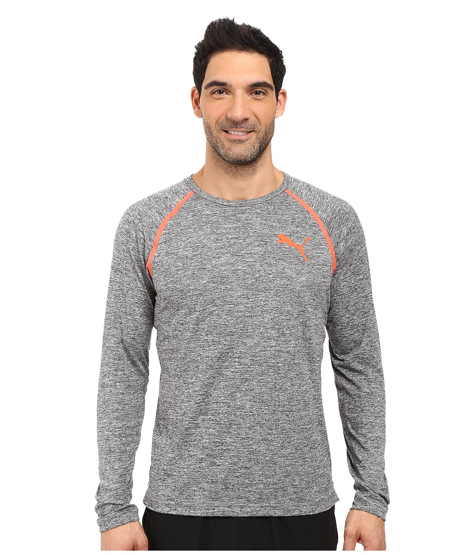 PUMA - Bonded Tech Long Sleeve Tee (Dark Gray Heather/Puma Black) Men's Long Sleeve Pullover
