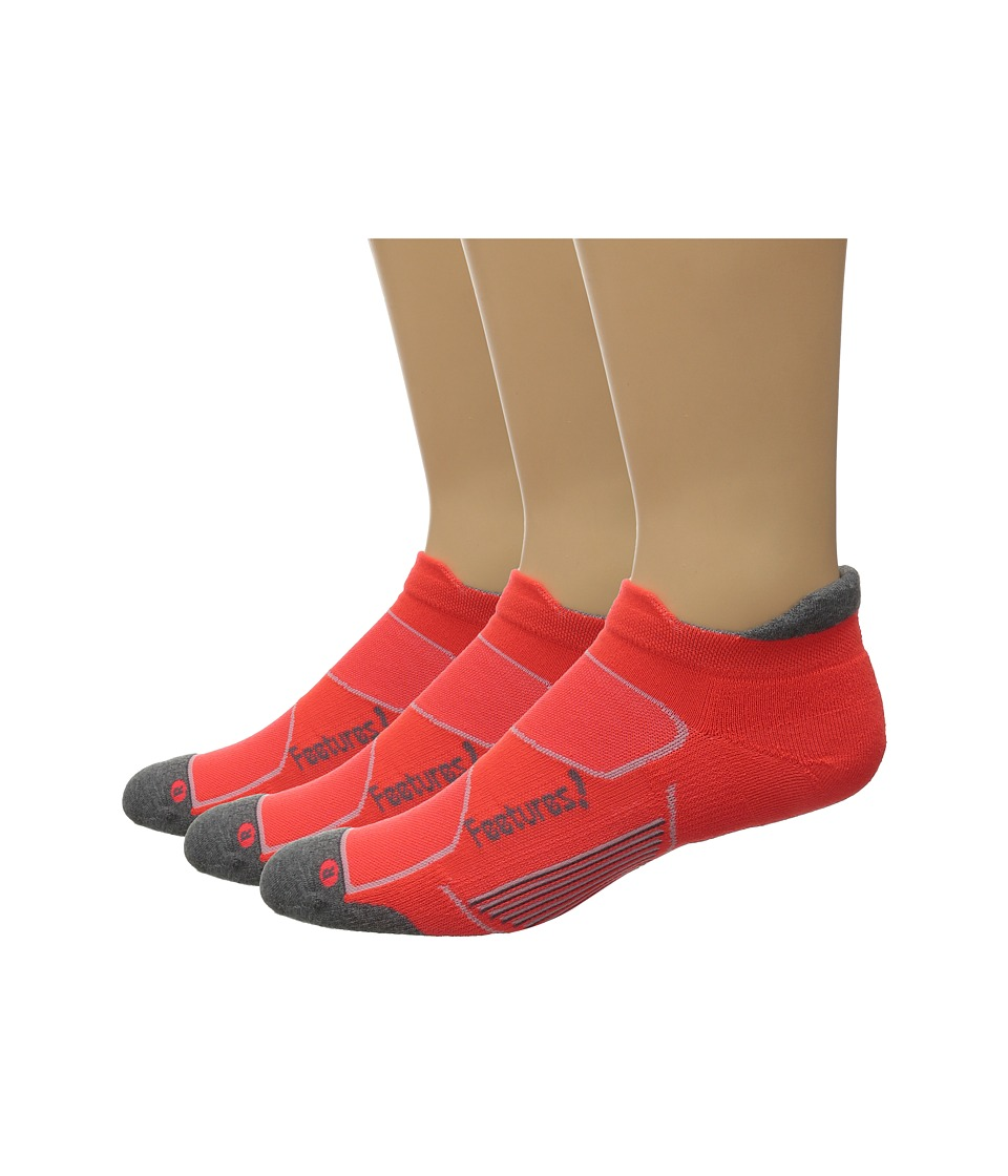 Feetures - Elite Max Cushion No Show Tab 3-Pair Pack (Lava/Graphite) No Show Socks Shoes