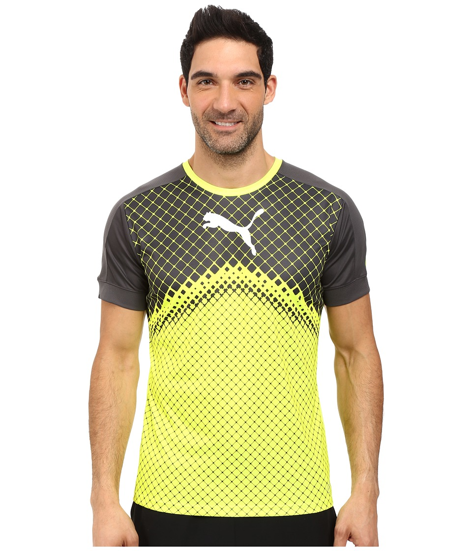 PUMA IT Evotrg Graphic Tee (Safety Yellow/Asphalt) Men