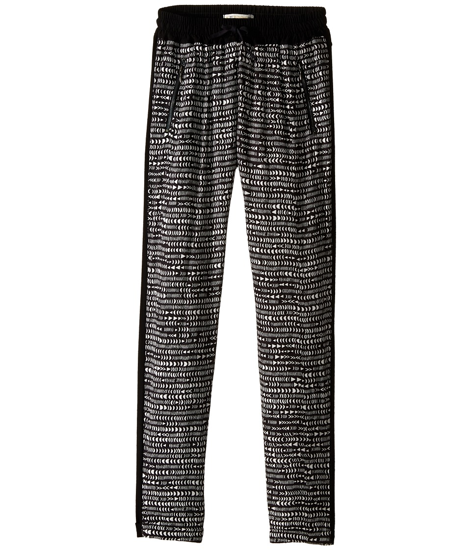 IKKS - Printed Loose Pants with Elastic Drawstring Waist Zipper Pocket Detail (Big Kids) (Black Print) Girl's Casual Pants