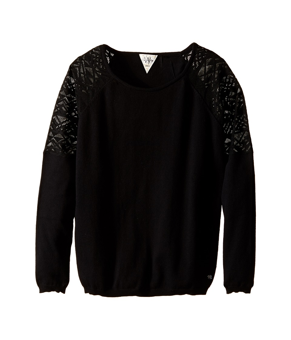 IKKS - Knit Pullover Sweater with Sheer Lace Detail on Shoulders (Big Kids) (Black) Girl's Sweater