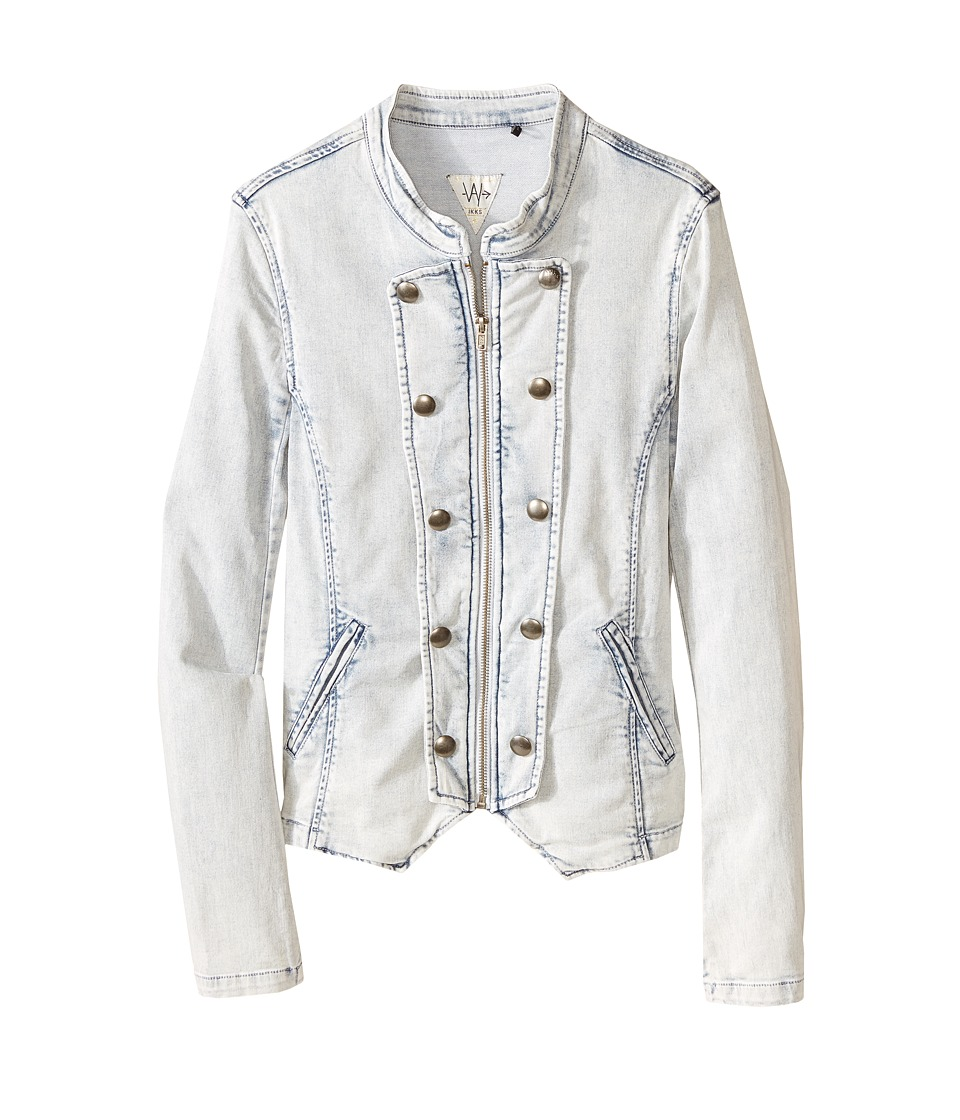 IKKS - Soft Denim Military Style Jacket with Zipper Front Button Detail (Big Kids) (Washed Blue) Girl's Coat