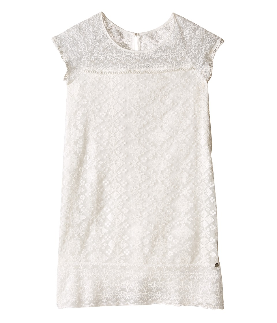 IKKS - Embroidered Lace Shift Dress with Cap Sleeve Button Top Back (Big Kids) (Beige) Girl's Dress