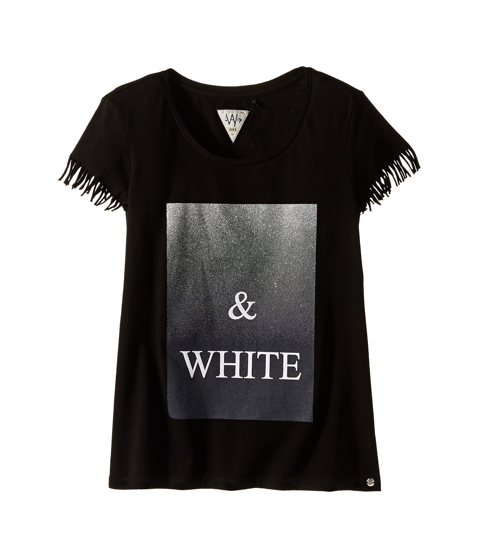 IKKS - Graphic T-Shirt with Fringe Sleeves Metallic Graphic Detail (Big Kids) (Black) Girl's Short Sleeve Pullover