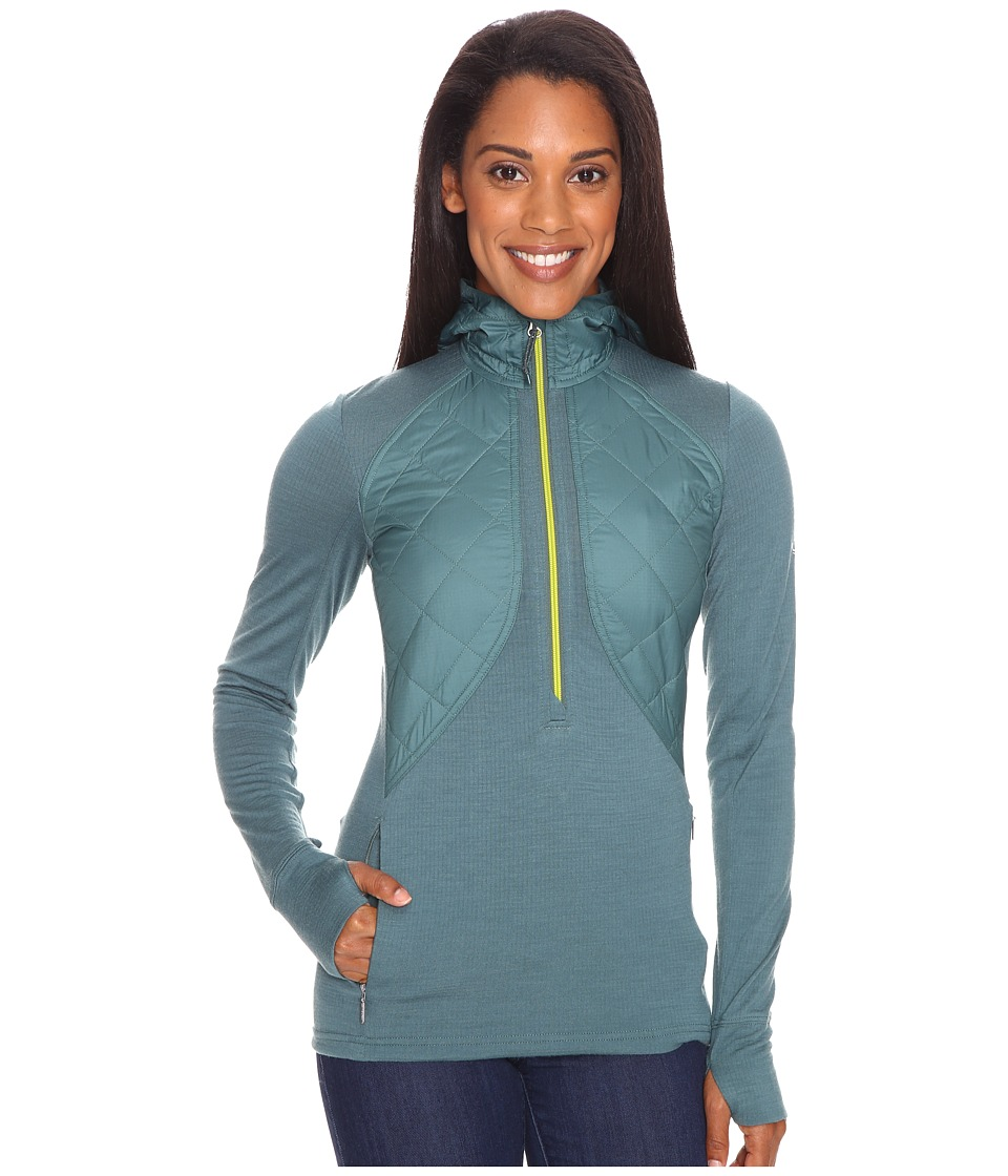 Icebreaker - Ellipse Long Sleeve Half Zip Hood (Canoe/Cactus) Women's Clothing