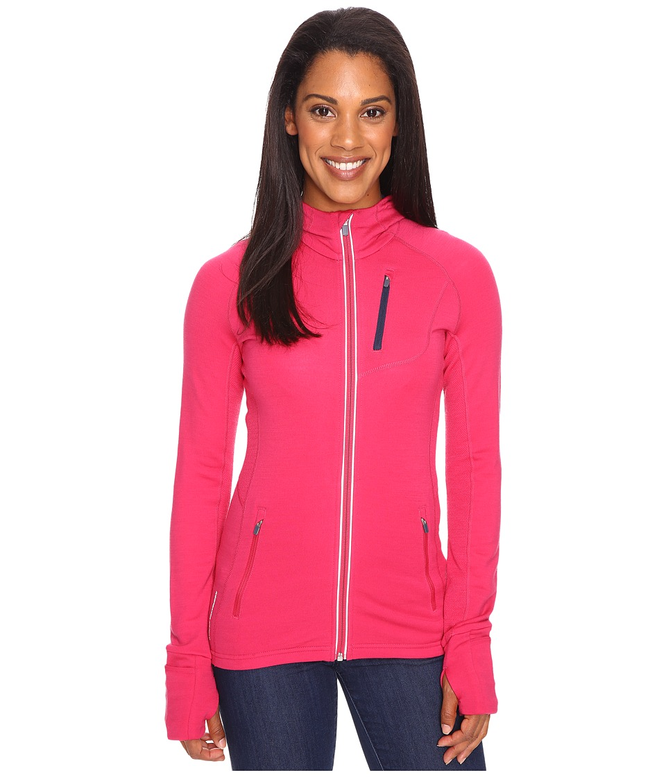 Icebreaker - Quantum Long Sleeve Zip Hood (Pop Pink/Admiral/Admiral) Women's Long Sleeve Pullover