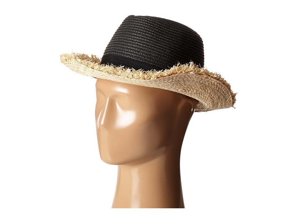 BCBGMAXAZRIA - Fringed Panama (Black) Caps