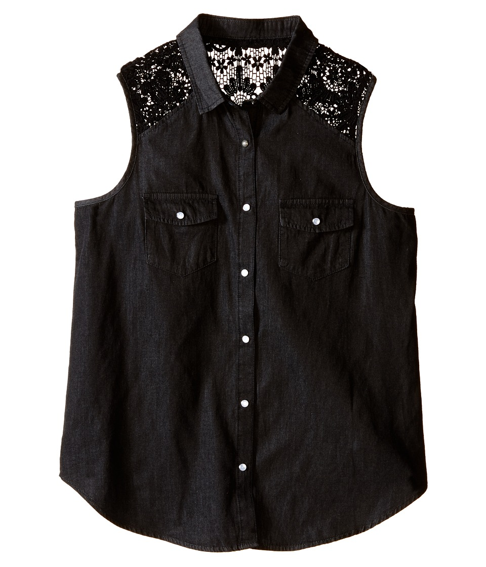 IKKS - Sleeveless Denim Blouse with Snap Front Crochet Lace Detail at Shoulder (Big Kids) (Black) Girl