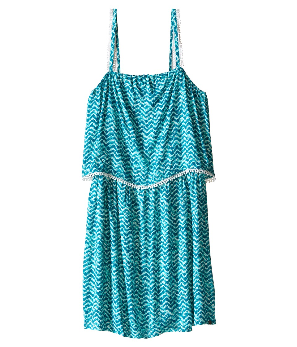 IKKS - Tropical Print Dress with Thin Straps Top Ruffle with Fringe Detail (Big Kids) (Turquoise Print) Girl's Dress