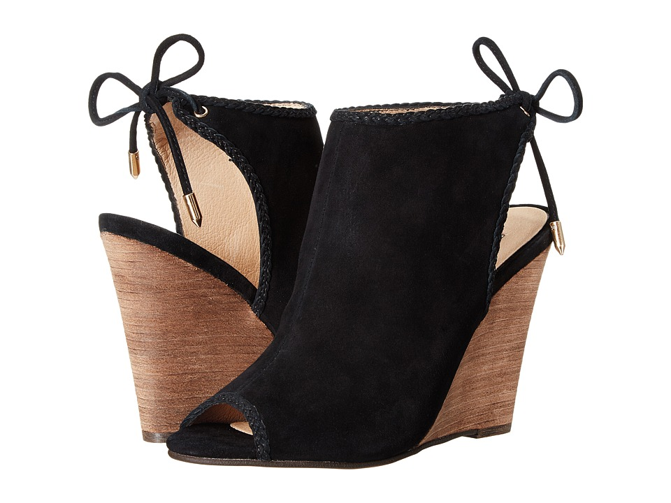 Kristin Cavallari - Larox Wedge Sandal (Black Kid Suede) Women's Wedge Shoes