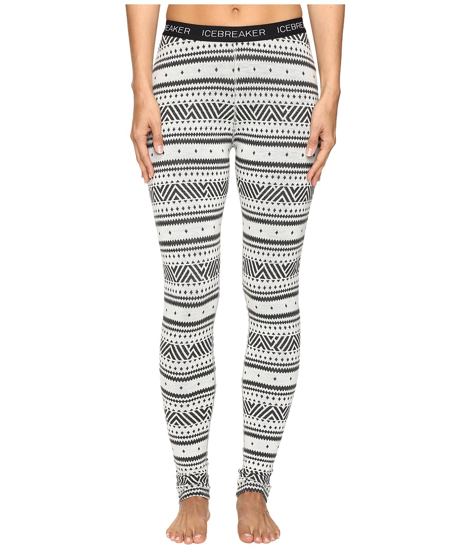 Icebreaker - Vertex Leggings Icon Fair Isle (Snow/Jet Heather/Black) Women's Casual Pants