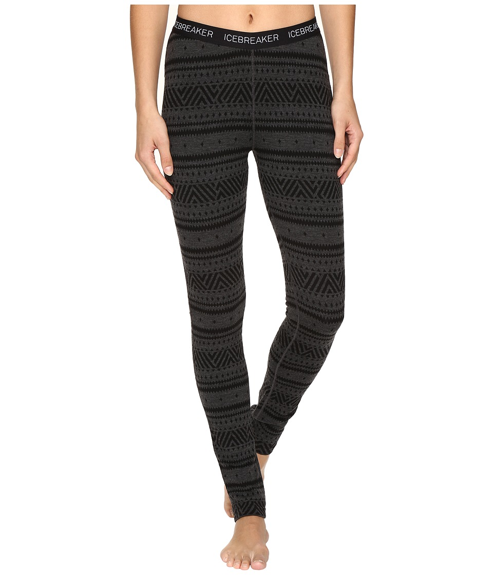 Icebreaker - Vertex Leggings Icon Fair Isle (Jet Heather/Black/Black) Women's Casual Pants