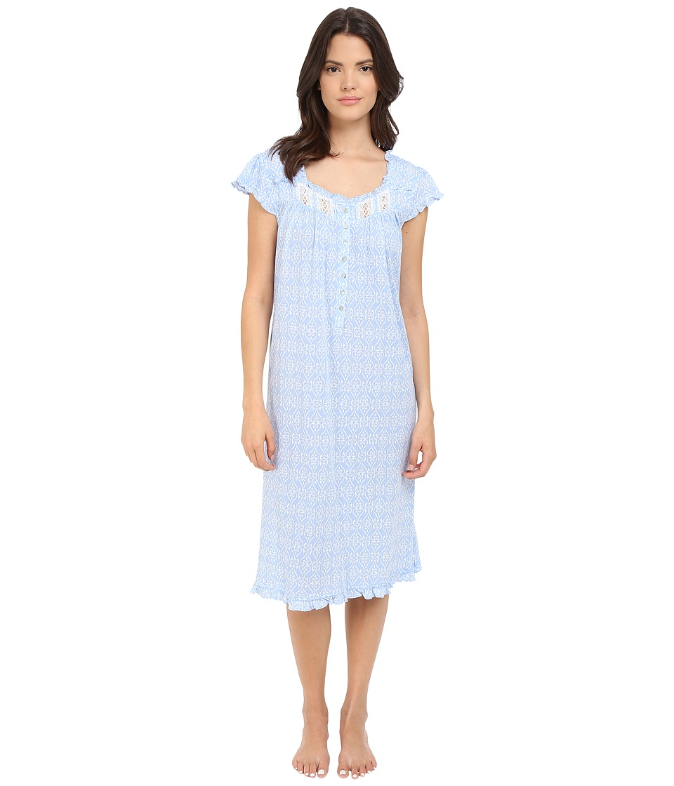 Eileen West - Waltz Nightgown (Dark Peri Ground/White Hearts) Women's Pajama