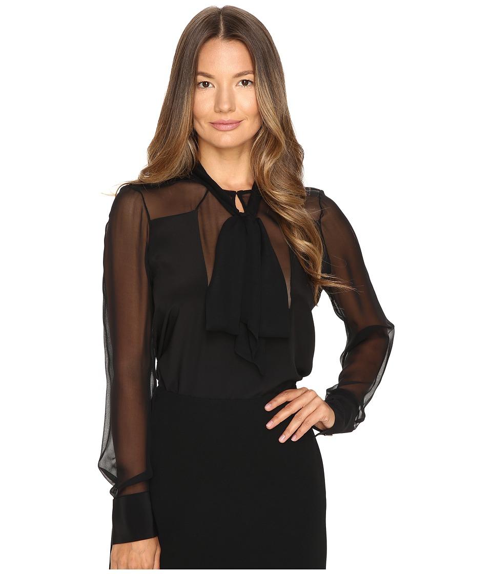 Prabal Gurung - Long Sleeve Tie Neck Blouse (Black) Women's Blouse