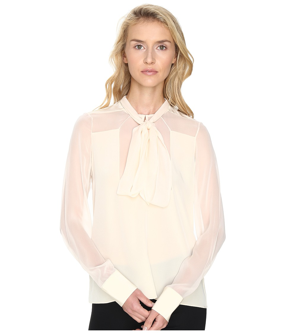 Prabal Gurung - Long Sleeve Tie Neck Blouse (Ivory) Women's Blouse