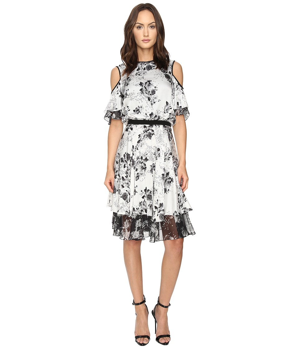 Prabal Gurung - Cold Shoulder Floral Dress (White Floral) Women's Dress